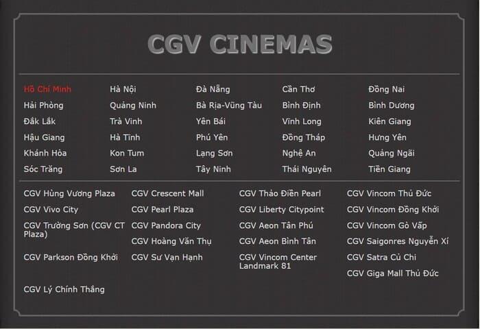 hệ thống rạp cgv cinema